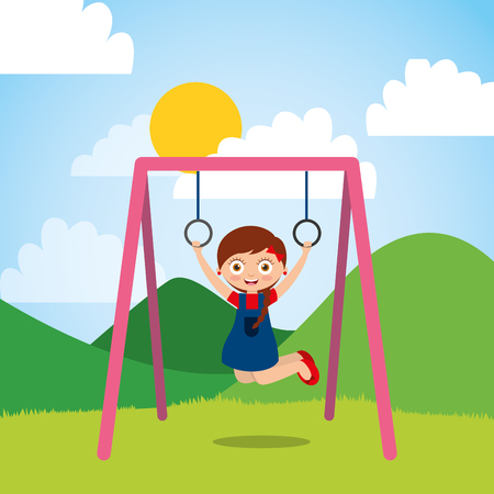 young girl playing with bar rings in the park and sunny day vector illustration Illustration