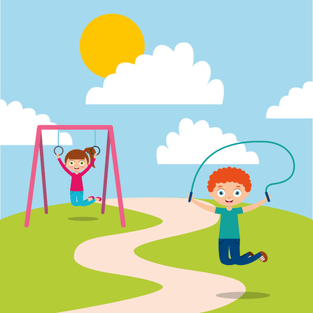 happy kids playing jum rope and bar monkey enjoy vector illustration
