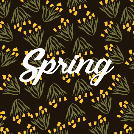 spring bunch yellow flower shape bell decoration background vector illustration