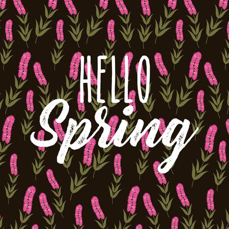 Hello spring decorative flower hyacinth stem black background vector illustration 일러스트