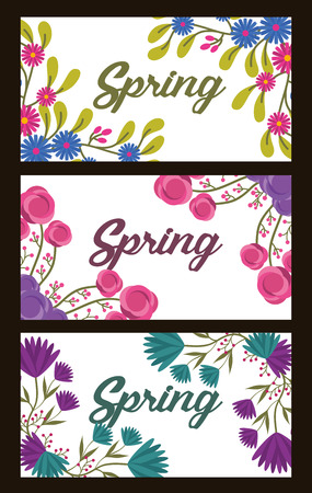 Collection banner horizontal flowers decoration spring vector illustration Illustration