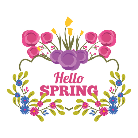 greeting card romantic label hello spring with flower branches decoration vector illustration
