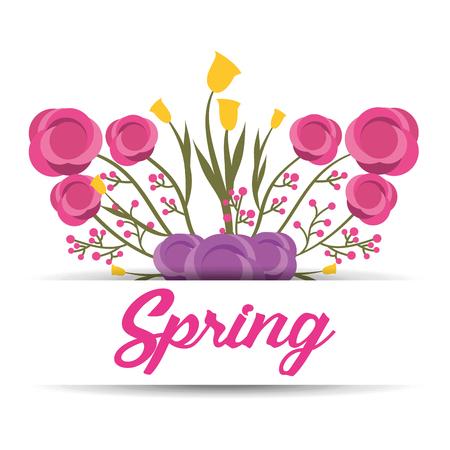 spring floral ornament lettering greeting banner decoration vector illustration Illustration