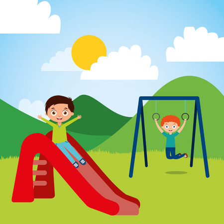 Cute happy little kids playing slide jump rope playground vector illustration