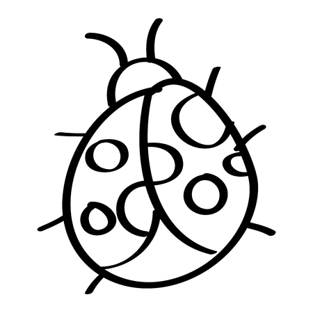 cute insect ladybug animal wildlife icon vector illustration outline design