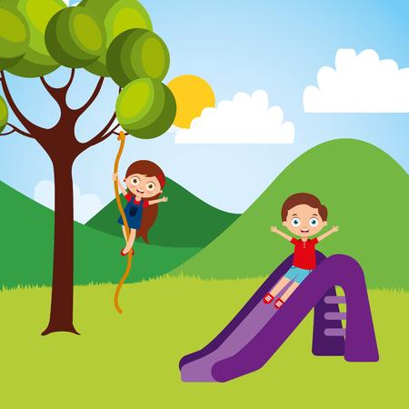 Mignon heureux enfants jouant toboggan balle à l & # 39 ; intérieur de l & # 39 ; érable illustration vectorielle Banque d'images - 96390132