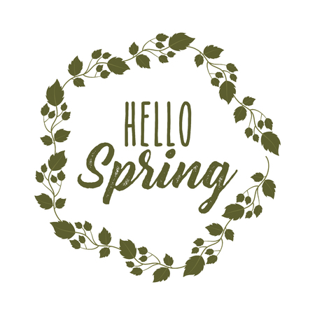 weather floral flowers natural season hello spring vector illustration