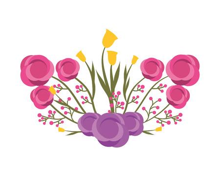 beautiful floral bunch of flowers arrangement vector illustration Stock Illustratie