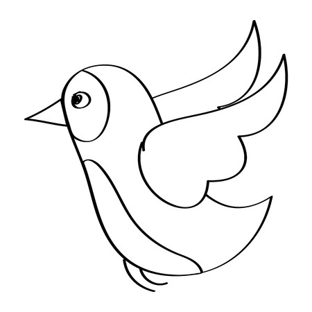 flying bird wild life natural animal vector illustration outline design