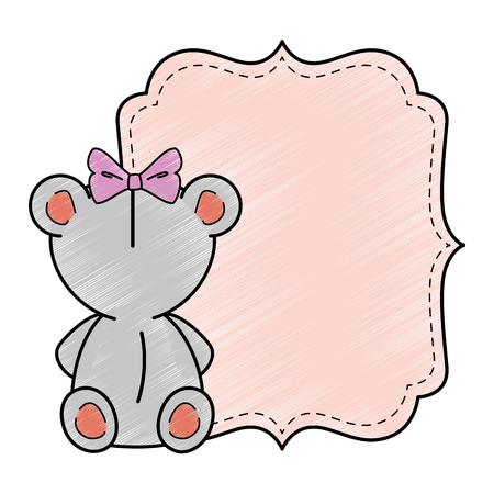 baby shower card with mouse icon over white background colorful design vector illustration 스톡 콘텐츠 - 96396342