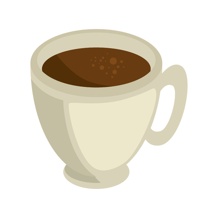 A coffee mug icon over white background vector illustration