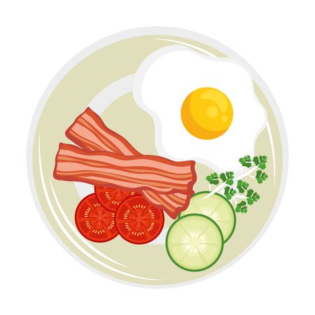 Eggs with bacon breakfast design vector illustration