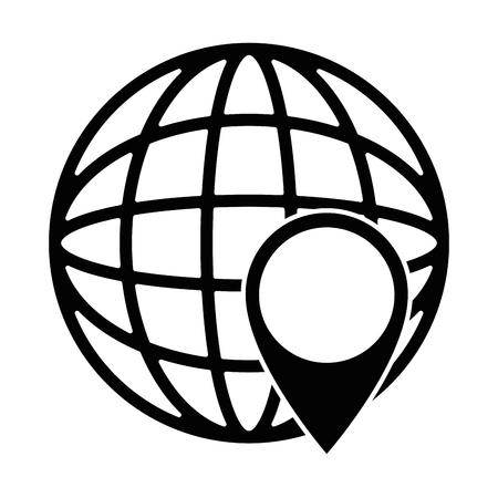 Een wereldplaneet met vector de illustratieontwerp van de speldwijzer Stockfoto - 96555454