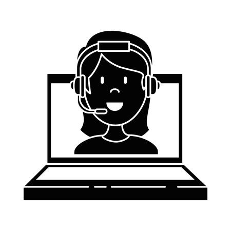 Una computadora portátil con diseño de ilustración de vector de agente de call center mujer
