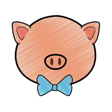 A cartoon pig animal icon over white background colorful design vector illustration Illustration