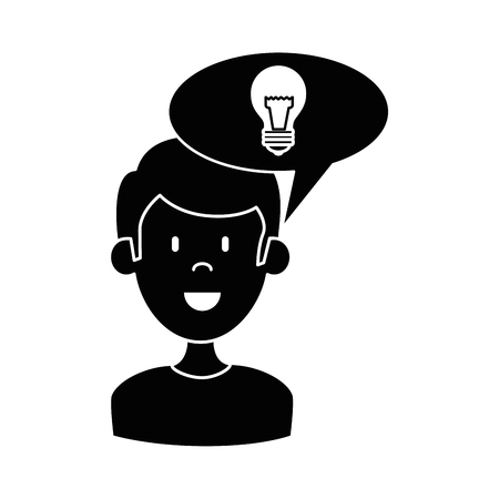 A man with speech bubble and bulb vector illustration design