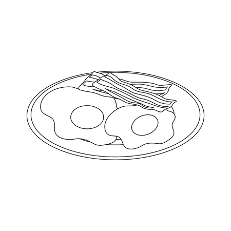 A plate with breakfast food icon over white background vector illustration