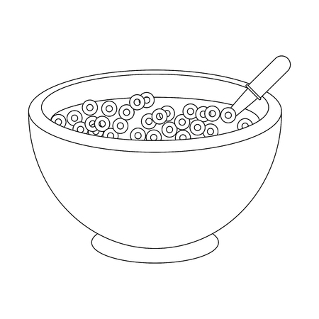 A cereal bowl icon over white background vector illustration