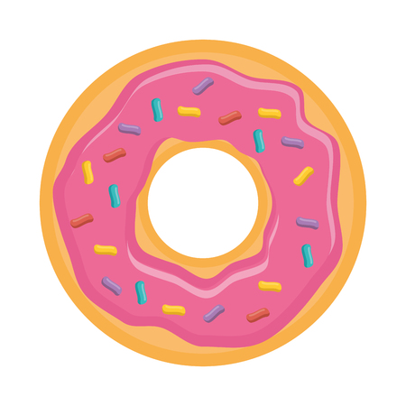 Donut pink sweet dessert, vector illustration design. Иллюстрация