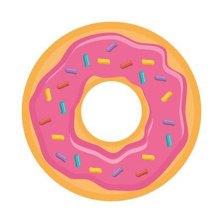 Donut pink sweet dessert, vector illustration design. Illustration
