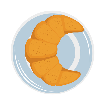 Croissant icon over white background vector illustration. Ilustração