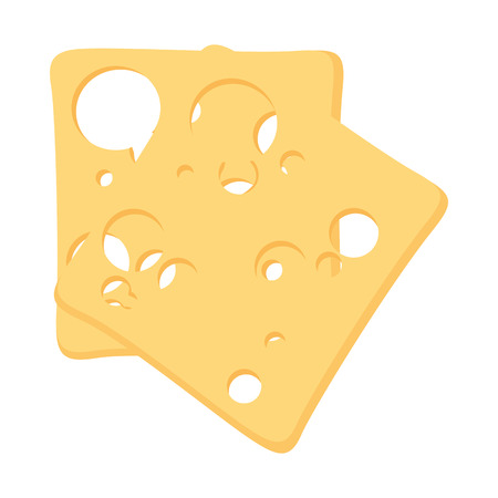 Cheese slices food over white background vector illustration