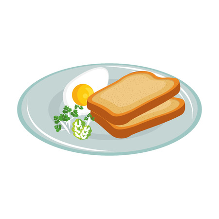 Plate with breakfast food icon over white background vector illustration.