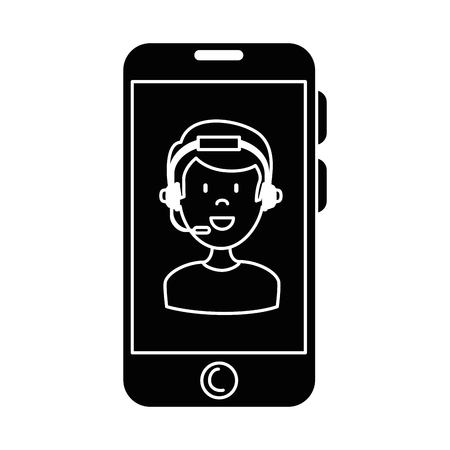 Smartphone device with call center agent vector illustration design