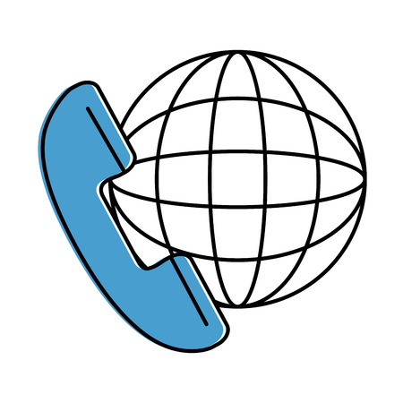 Phone service with planet vector illustration design