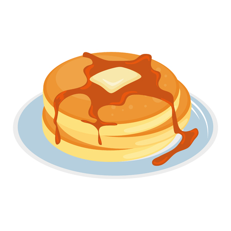 Hand drawn pancake on dish breakfast with honey design