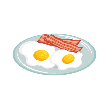Hand drawn eggs with bacon breakfast design vector illustration