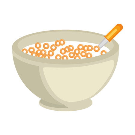 Hand drawn cereal bowl icon over white background vector illustration Ilustração