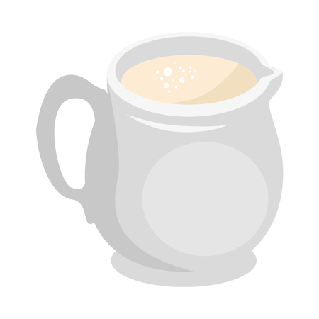 Hand drawn milk pitcher over white background vector illustration