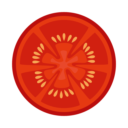 Hand drawn tomato slice over white background vector illustration