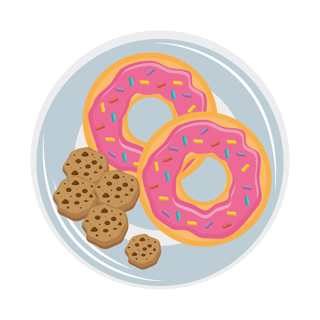 Hand drawn dish with cookies and sweet donuts icon over white background vector illustration