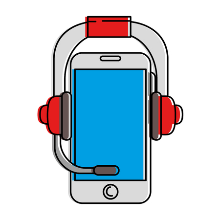 Smartphone device with headset vector illustration design