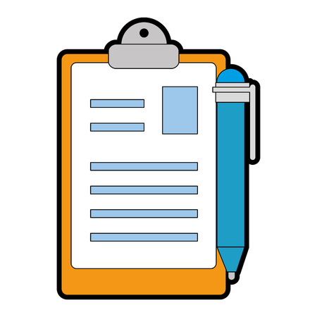 clipboard document with pen vector illustration design
