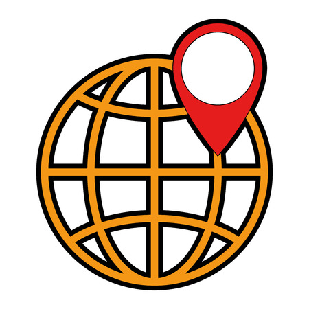 World planet earth with pin pointer vector illustration design 일러스트