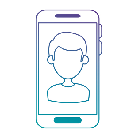 Smartphone device with user vector illustration design