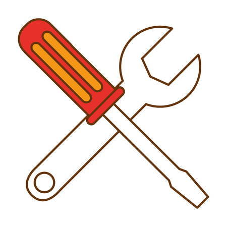 screwdriver and wrench tools vector illustration design Illustration