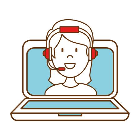 Portátil con call center agente mujer diseño ilustración vectorial