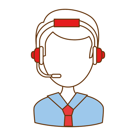 Male call center agent vector illustration design