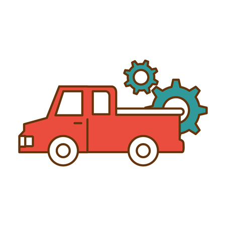 Delivery truck with gears vector illustration design