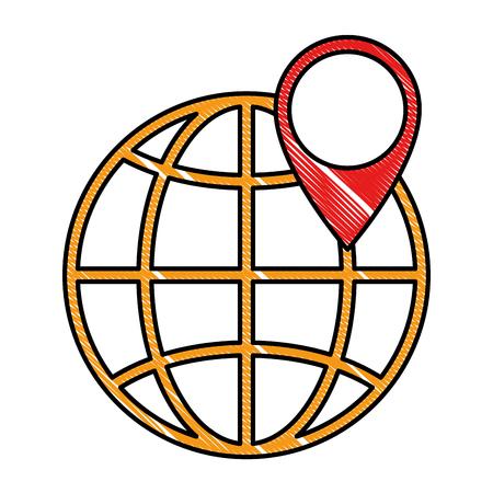 Wereld planeet aarde met pin pointer vector illustratie ontwerp Stockfoto - 96425817