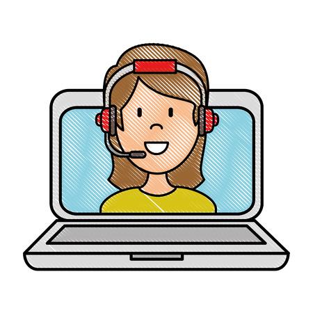 Ordenador portátil con diseño de ilustración de vector de agente de call center mujer