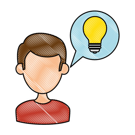 Man with speech bubble and bulb vector illustration design