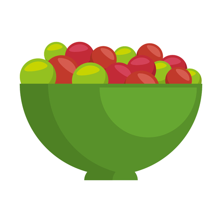 Bowl with fresh grapes vector illustration design