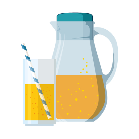 Juice glass pot with cup vector illustration design Illustration