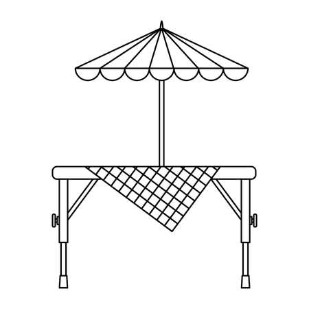 Picnic table with umbrella vector illustration design