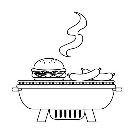 Grill oven with sausages and burger vector illustration design